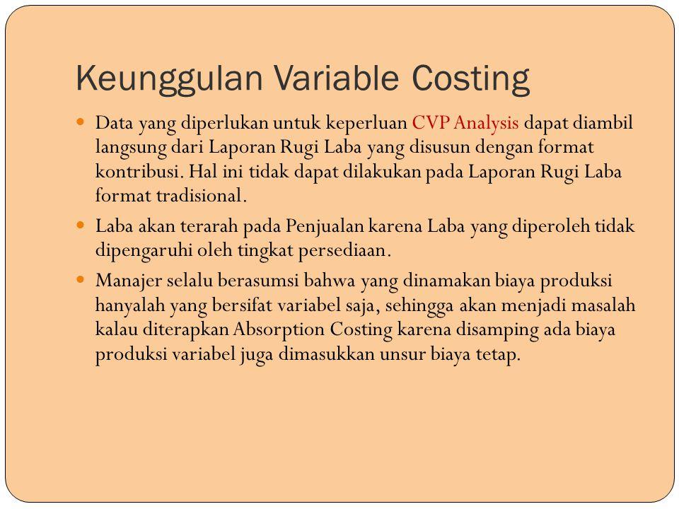 Keunggulan Variable Costing Data yang diperlukan untuk keperluan CVP Analysis dapat diambil langsung dari Laporan Rugi Laba yang disusun dengan format