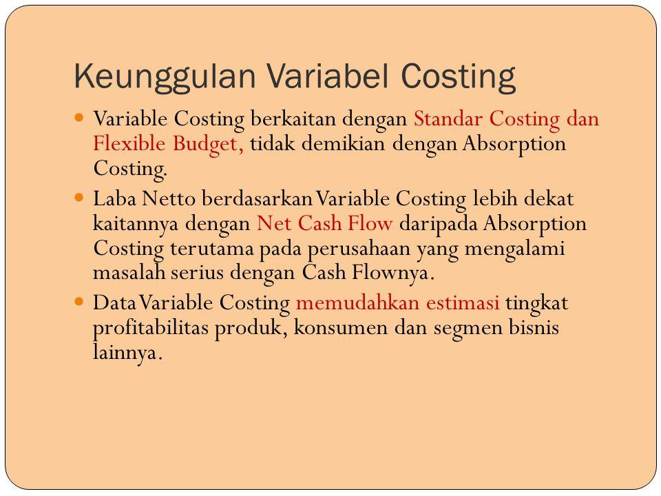Keunggulan Variabel Costing Variable Costing berkaitan dengan Standar Costing dan Flexible Budget, tidak demikian dengan Absorption Costing. Laba Nett