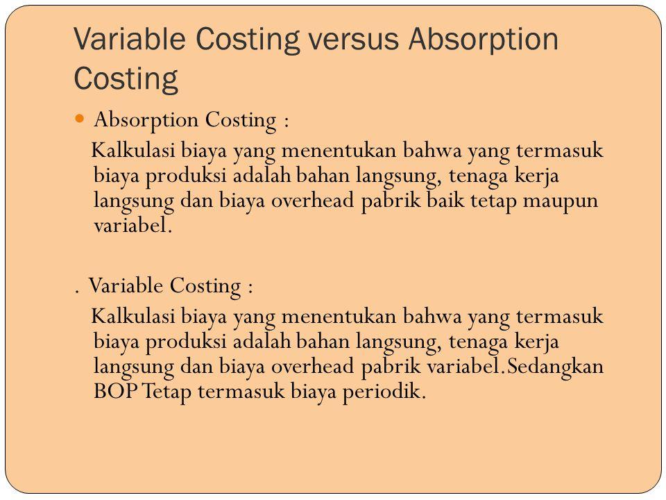 Variable Costing versus Absorption Costing Absorption Costing : Kalkulasi biaya yang menentukan bahwa yang termasuk biaya produksi adalah bahan langsu
