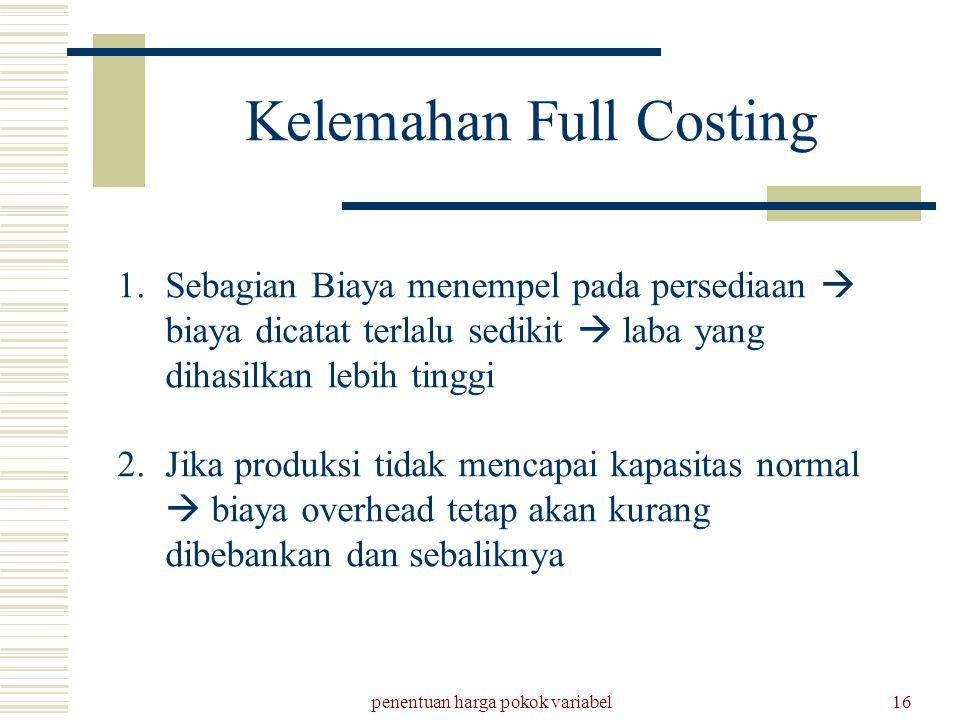 penentuan harga pokok variabel16 Kelemahan Full Costing 1.Sebagian Biaya menempel pada persediaan  biaya dicatat terlalu sedikit  laba yang dihasilk