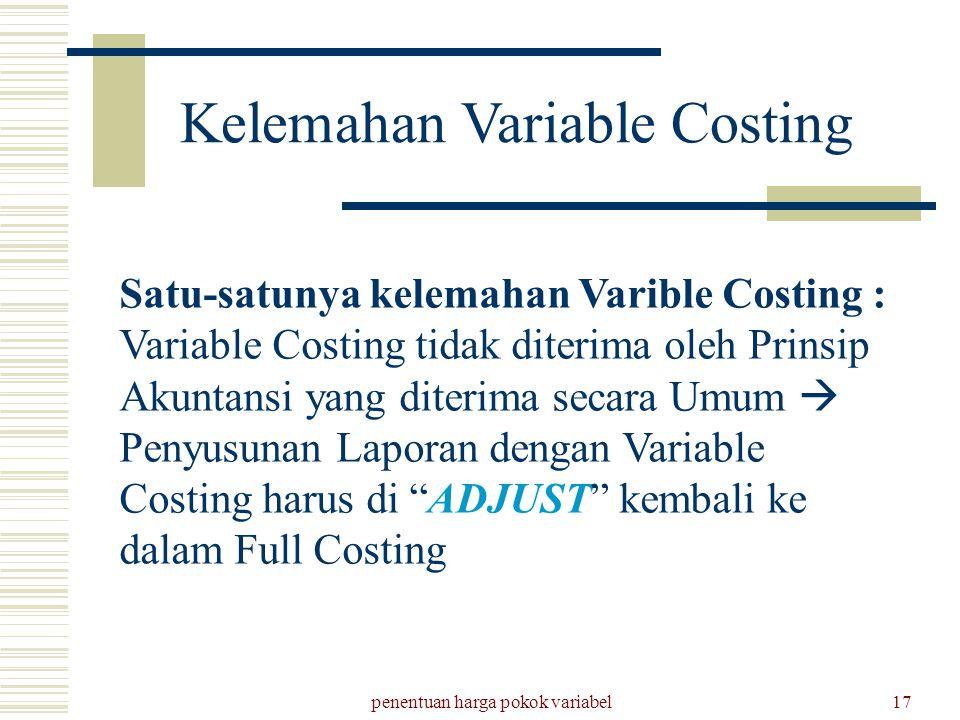 penentuan harga pokok variabel17 Kelemahan Variable Costing Satu-satunya kelemahan Varible Costing : Variable Costing tidak diterima oleh Prinsip Akun