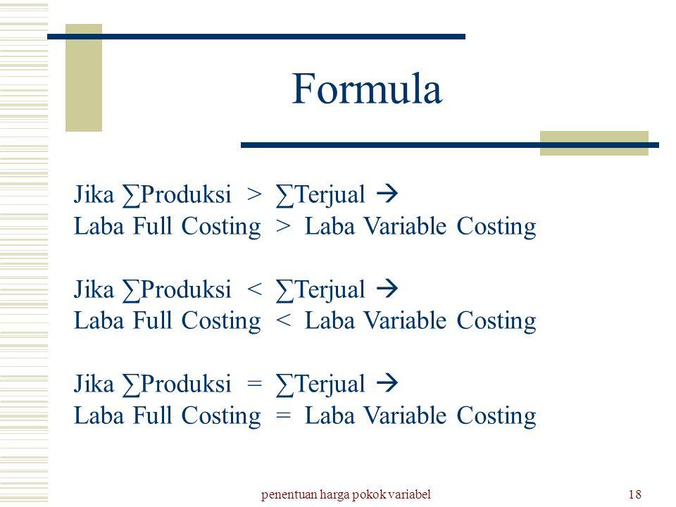 penentuan harga pokok variabel18 Formula Jika ∑Produksi > ∑Terjual  Laba Full Costing > Laba Variable Costing Jika ∑Produksi < ∑Terjual  Laba Full C