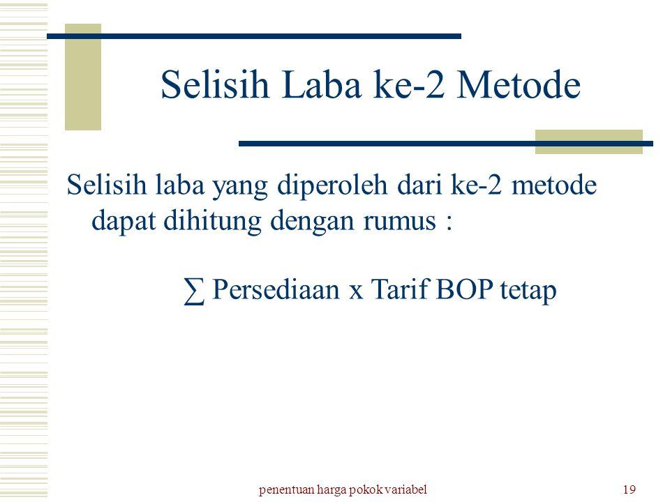 penentuan harga pokok variabel19 Selisih Laba ke-2 Metode Selisih laba yang diperoleh dari ke-2 metode dapat dihitung dengan rumus : ∑ Persediaan x Ta