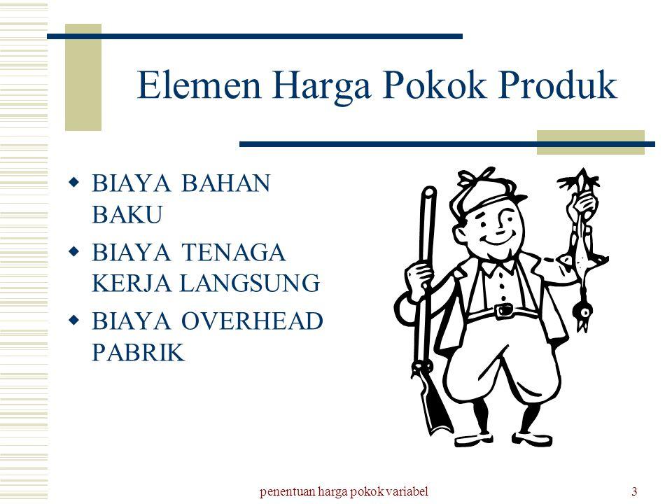 penentuan harga pokok variabel3 Elemen Harga Pokok Produk  BIAYA BAHAN BAKU  BIAYA TENAGA KERJA LANGSUNG  BIAYA OVERHEAD PABRIK