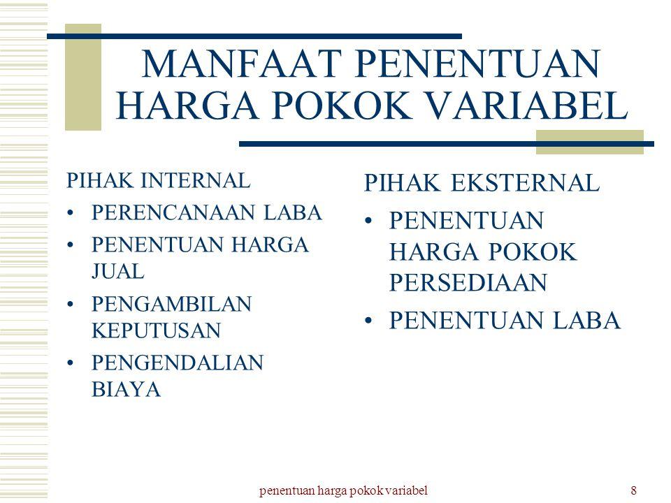 penentuan harga pokok variabel8 MANFAAT PENENTUAN HARGA POKOK VARIABEL PIHAK INTERNAL PERENCANAAN LABA PENENTUAN HARGA JUAL PENGAMBILAN KEPUTUSAN PENG
