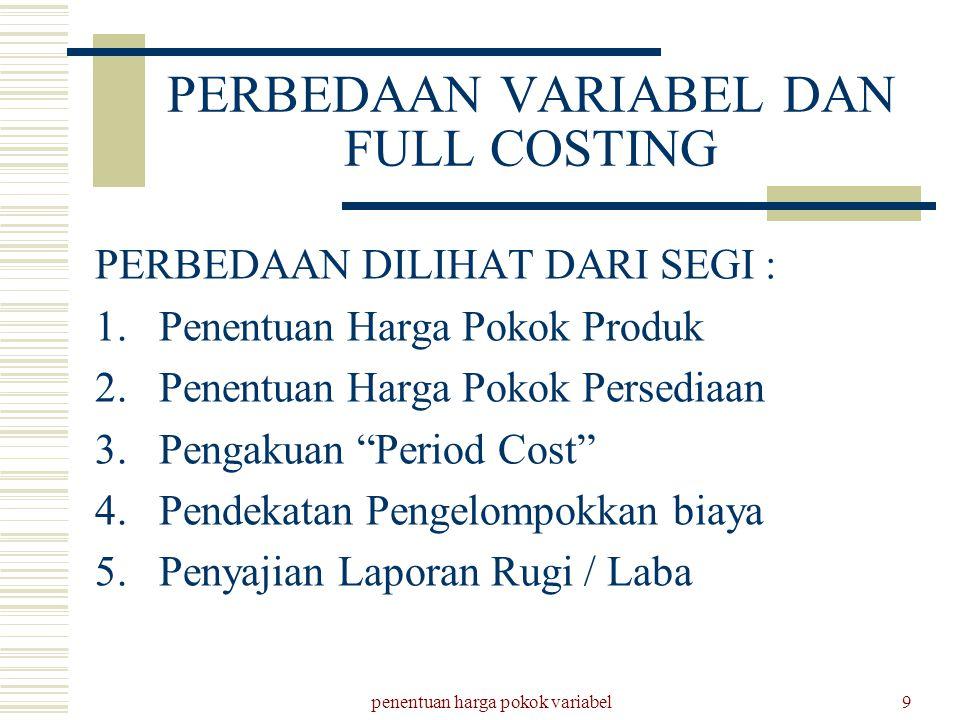 penentuan harga pokok variabel9 PERBEDAAN VARIABEL DAN FULL COSTING PERBEDAAN DILIHAT DARI SEGI : 1.Penentuan Harga Pokok Produk 2.Penentuan Harga Pok