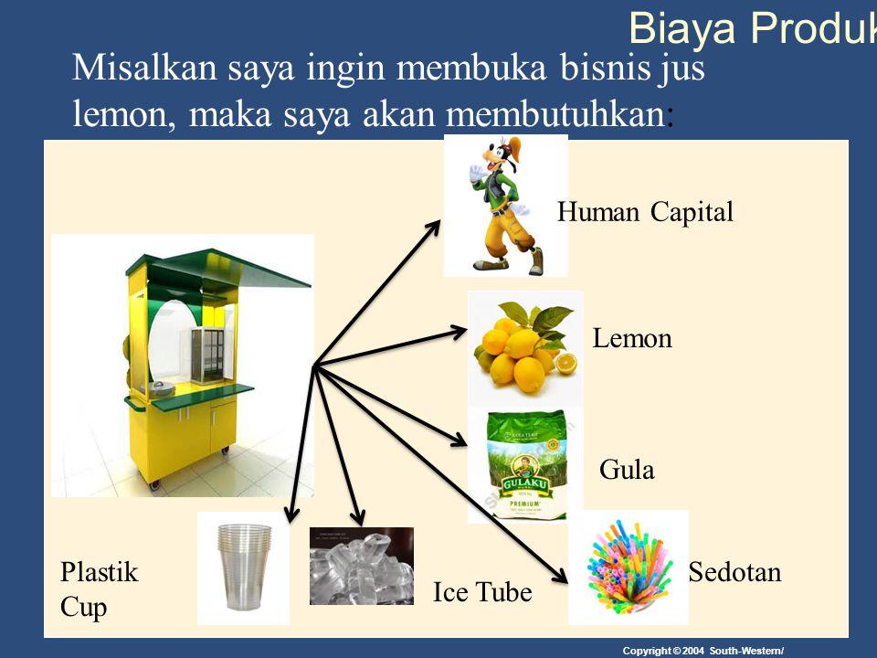 Copyright © 2004 South-Western/ Biaya Produksi Misalkan saya ingin membuka bisnis jus lemon, maka saya akan membutuhkan: Human Capital Lemon Gula Plas