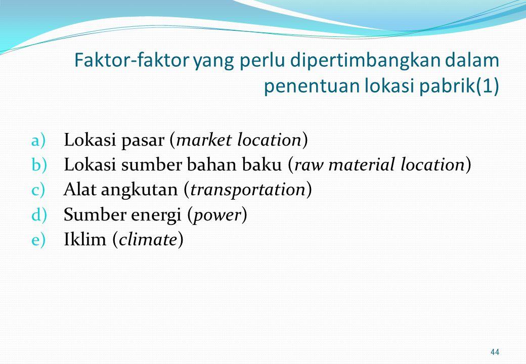 Kondisi-kondisi yang berperan dalam proses penentuan lokasi pabrik (3) : 3. Lokasi di luar kota (country location) Lahan yang luas sangat diperlukan u