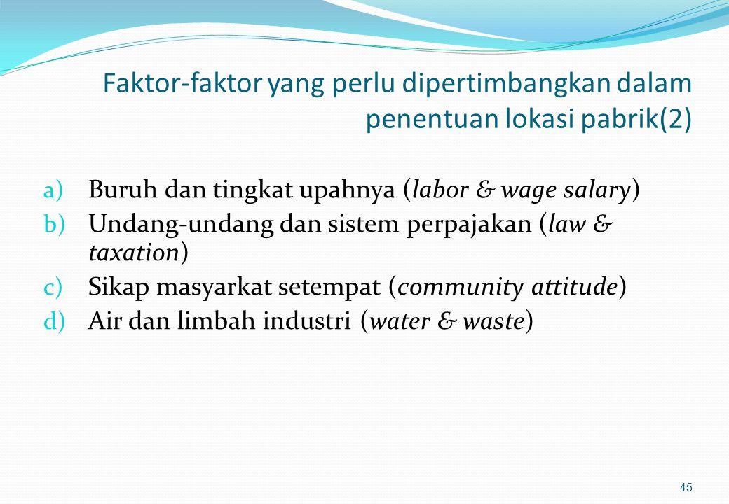 Faktor-faktor yang perlu dipertimbangkan dalam penentuan lokasi pabrik(1) a) Lokasi pasar (market location) b) Lokasi sumber bahan baku (raw material