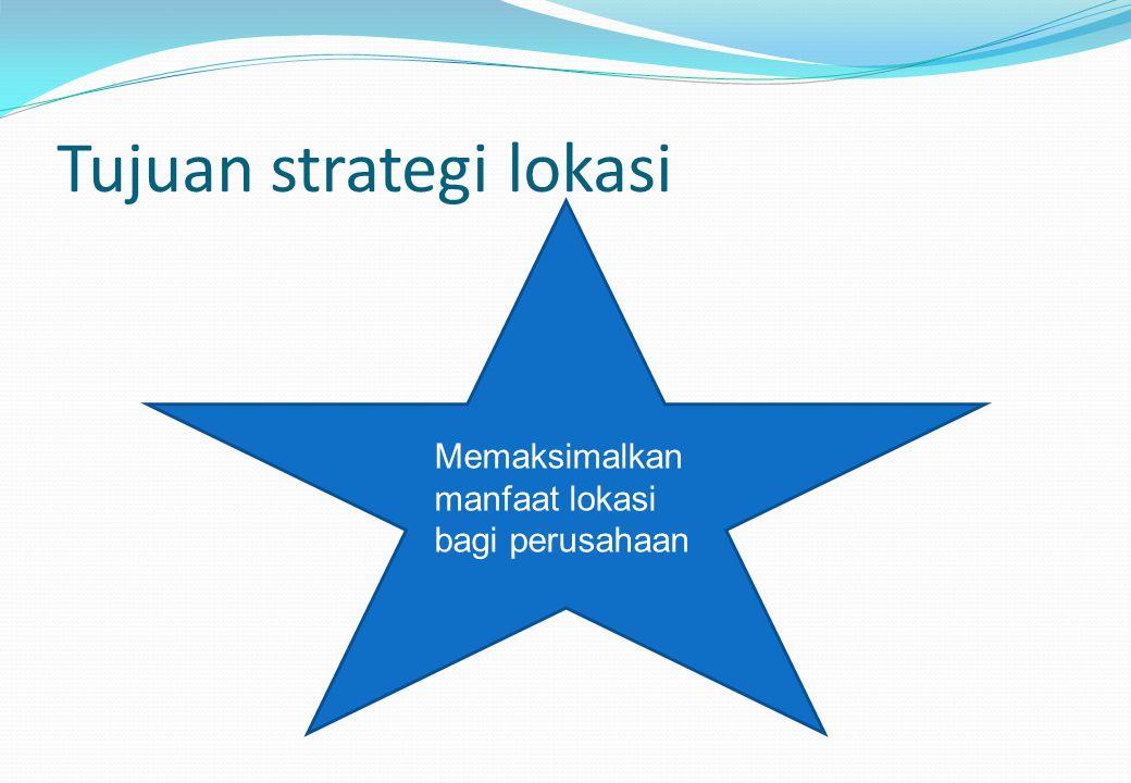 Tujuan strategi lokasi Memaksimalkan manfaat lokasi bagi perusahaan