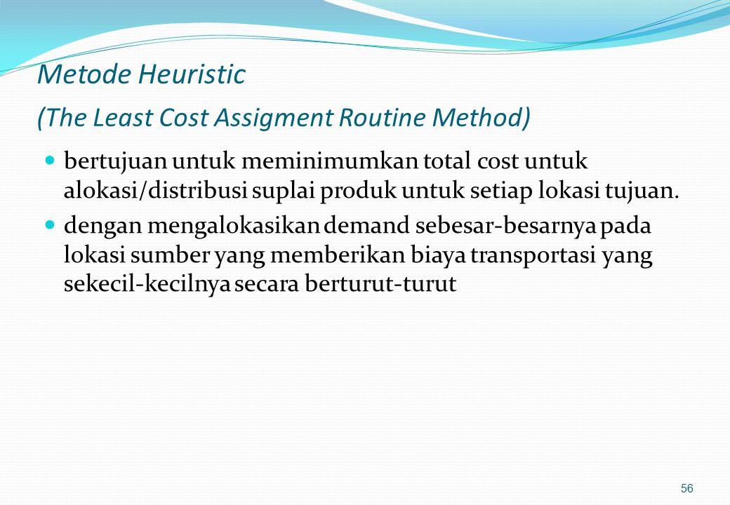 Step 1 :penyelesaian awal Untuk penyelesaian awal dapat dilakukan dengan aplikasi salah satu metode, yaitu : 1. Metode Heuristic 2. Northwest corner r