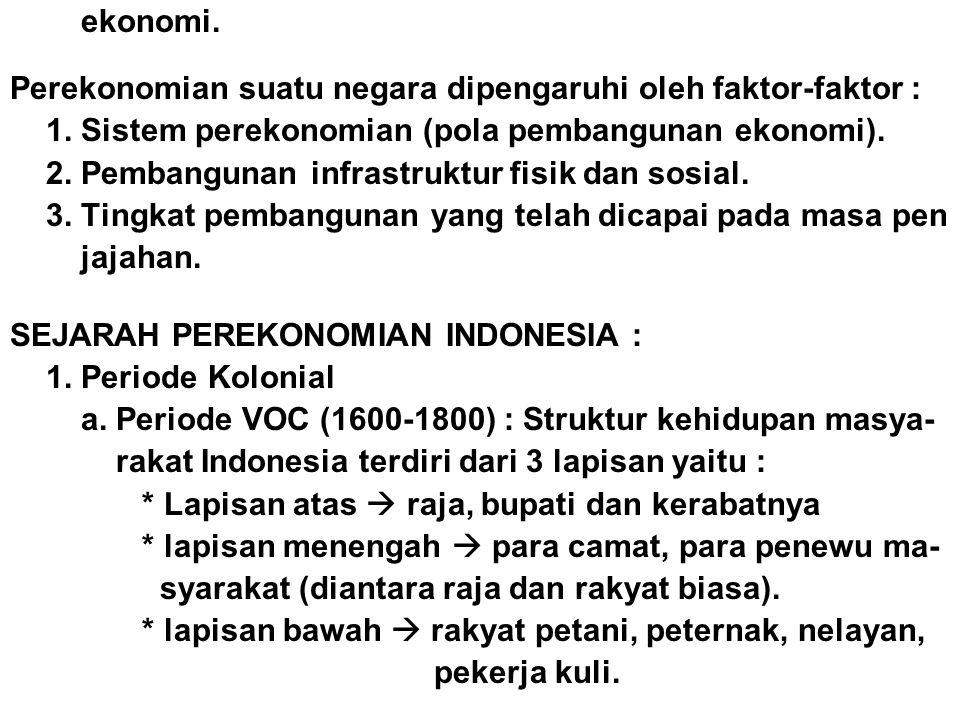 ekonomi. Perekonomian suatu negara dipengaruhi oleh faktor-faktor : 1. Sistem perekonomian (pola pembangunan ekonomi). 2. Pembangunan infrastruktur fi