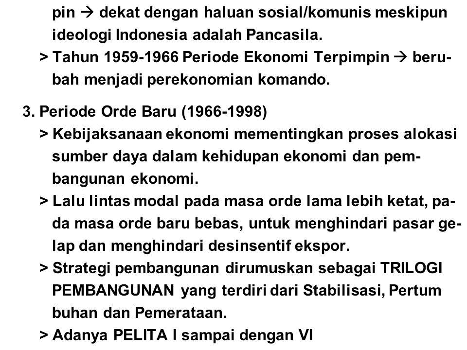 pin  dekat dengan haluan sosial/komunis meskipun ideologi Indonesia adalah Pancasila. > Tahun 1959-1966 Periode Ekonomi Terpimpin  beru- bah menjadi