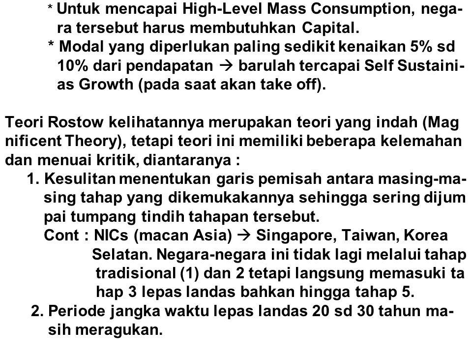 * Untuk mencapai High-Level Mass Consumption, nega- ra tersebut harus membutuhkan Capital. * Modal yang diperlukan paling sedikit kenaikan 5% sd 10% d