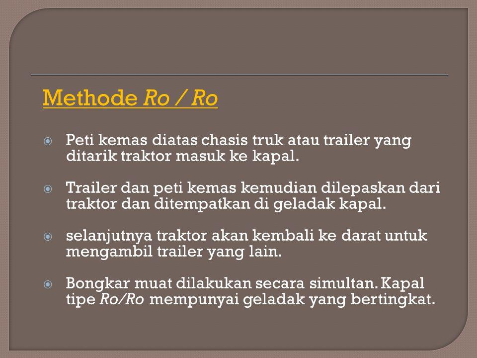 Methode Ro / Ro  Peti kemas diatas chasis truk atau trailer yang ditarik traktor masuk ke kapal.  Trailer dan peti kemas kemudian dilepaskan dari tr