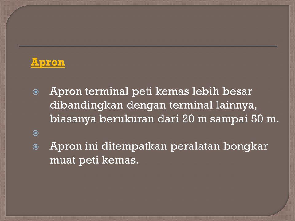 Apron  Apron terminal peti kemas lebih besar dibandingkan dengan terminal lainnya, biasanya berukuran dari 20 m sampai 50 m.   Apron ini ditempatka