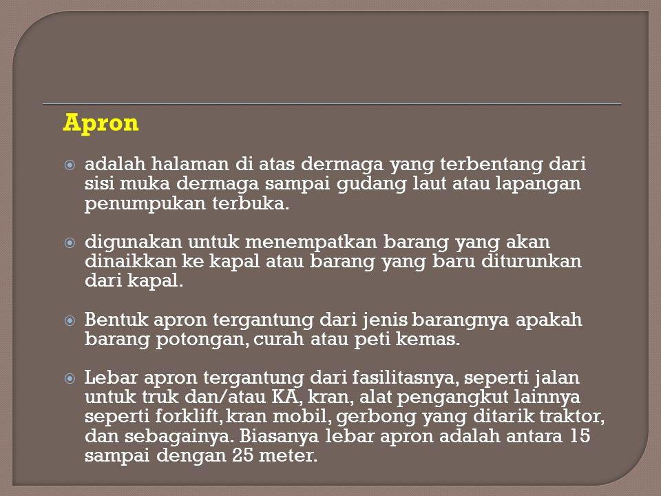 Apron  adalah halaman di atas dermaga yang terbentang dari sisi muka dermaga sampai gudang laut atau lapangan penumpukan terbuka.  digunakan untuk m
