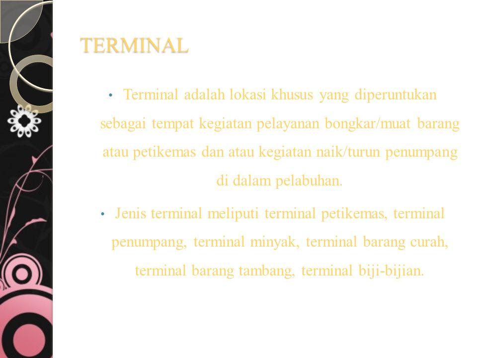 TERMINAL Terminal adalah lokasi khusus yang diperuntukan sebagai tempat kegiatan pelayanan bongkar/muat barang atau petikemas dan atau kegiatan naik/t