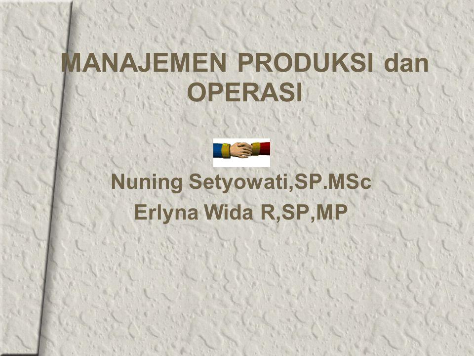 MANAJEMEN PRODUKSI dan OPERASI Nuning Setyowati,SP.MSc Erlyna Wida R,SP,MP