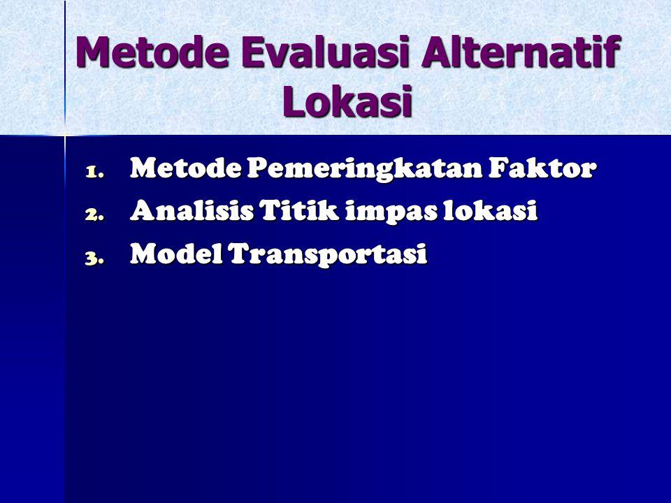 Metode Evaluasi Alternatif Lokasi 1. Metode Pemeringkatan Faktor 2. Analisis Titik impas lokasi 3. Model Transportasi