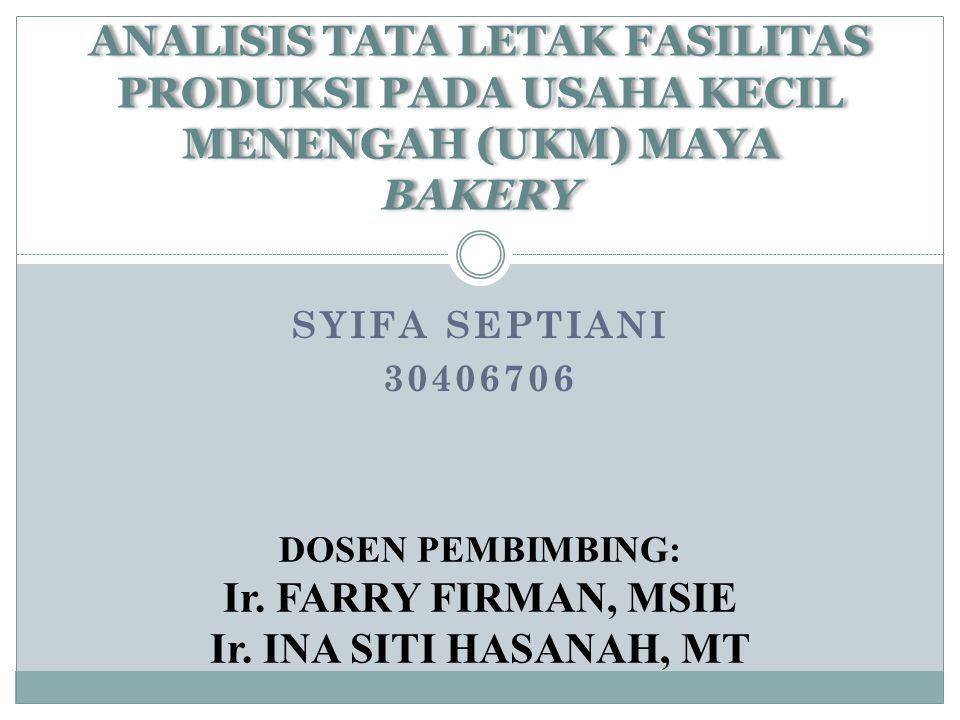 SYIFA SEPTIANI 30406706 ANALISIS TATA LETAK FASILITAS PRODUKSI PADA USAHA KECIL MENENGAH (UKM) MAYA BAKERY DOSEN PEMBIMBING: Ir.