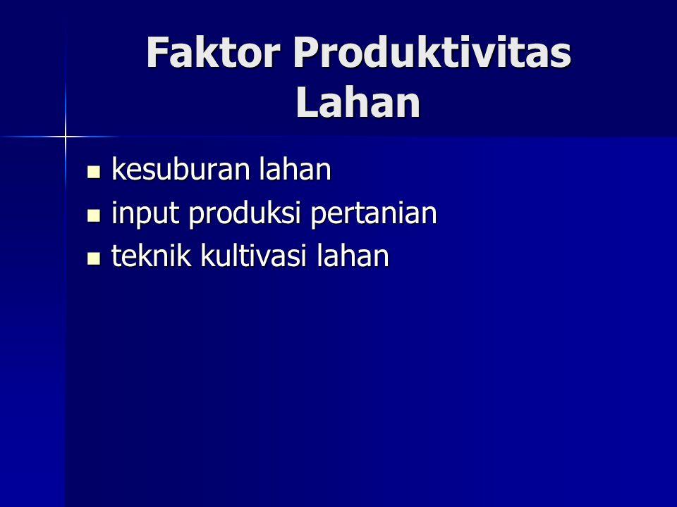 Faktor Produktivitas Lahan kesuburan lahan kesuburan lahan input produksi pertanian input produksi pertanian teknik kultivasi lahan teknik kultivasi l