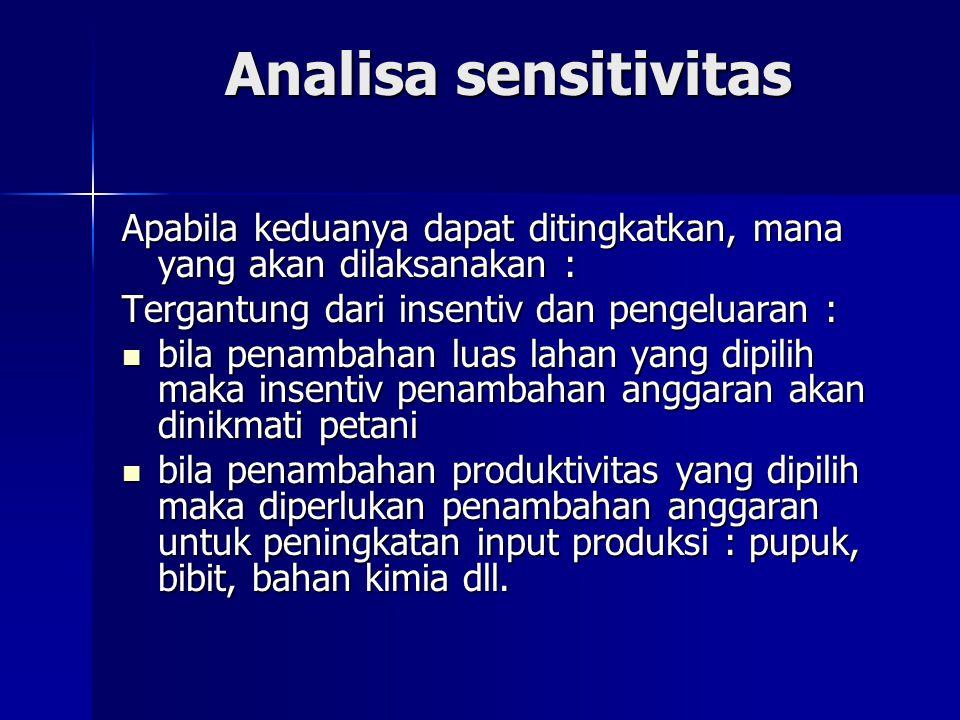 Analisa sensitivitas Apabila keduanya dapat ditingkatkan, mana yang akan dilaksanakan : Tergantung dari insentiv dan pengeluaran : bila penambahan lua