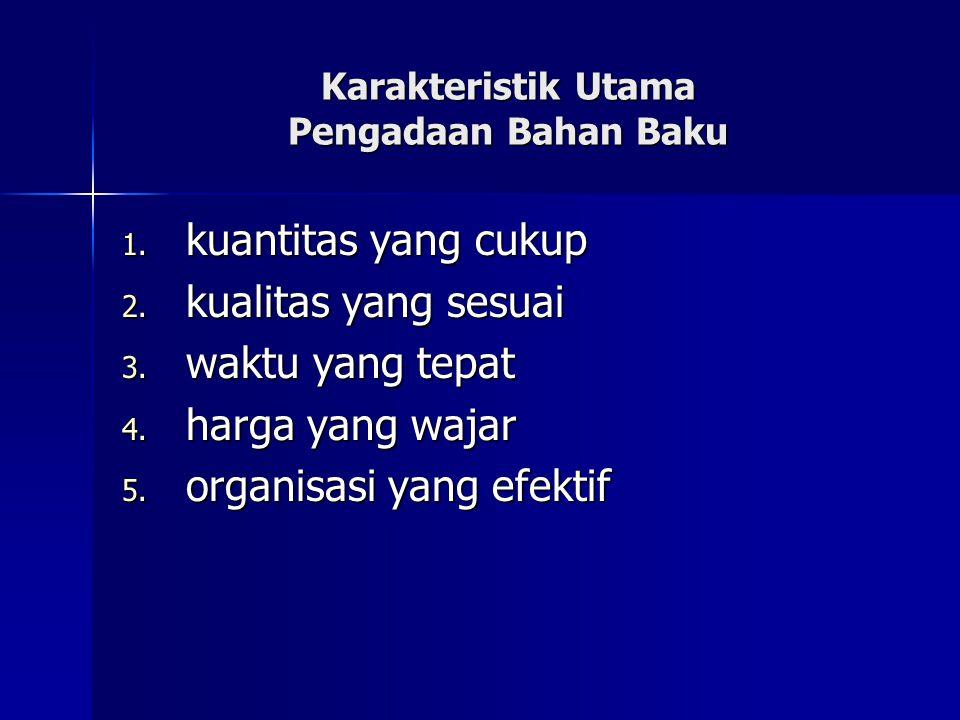 Karakteristik Utama Pengadaan Bahan Baku 1. kuantitas yang cukup 2. kualitas yang sesuai 3. waktu yang tepat 4. harga yang wajar 5. organisasi yang ef