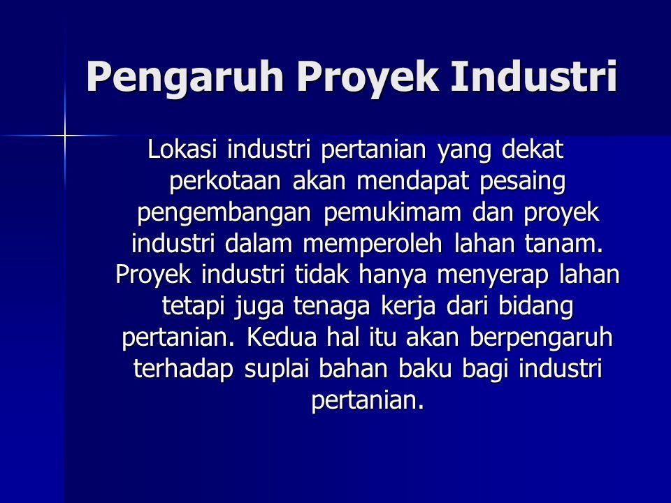 Pengaruh Proyek Industri Lokasi industri pertanian yang dekat perkotaan akan mendapat pesaing pengembangan pemukimam dan proyek industri dalam mempero