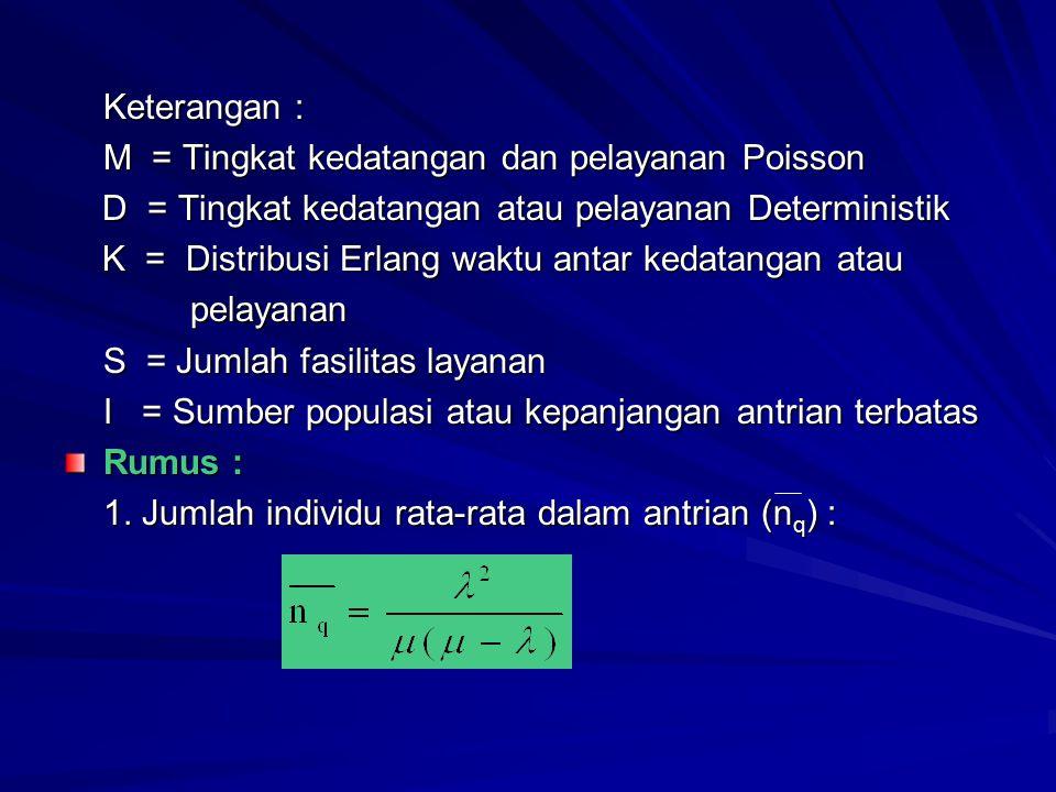 Keterangan : M = Tingkat kedatangan dan pelayanan Poisson D = Tingkat kedatangan atau pelayanan Deterministik D = Tingkat kedatangan atau pelayanan De