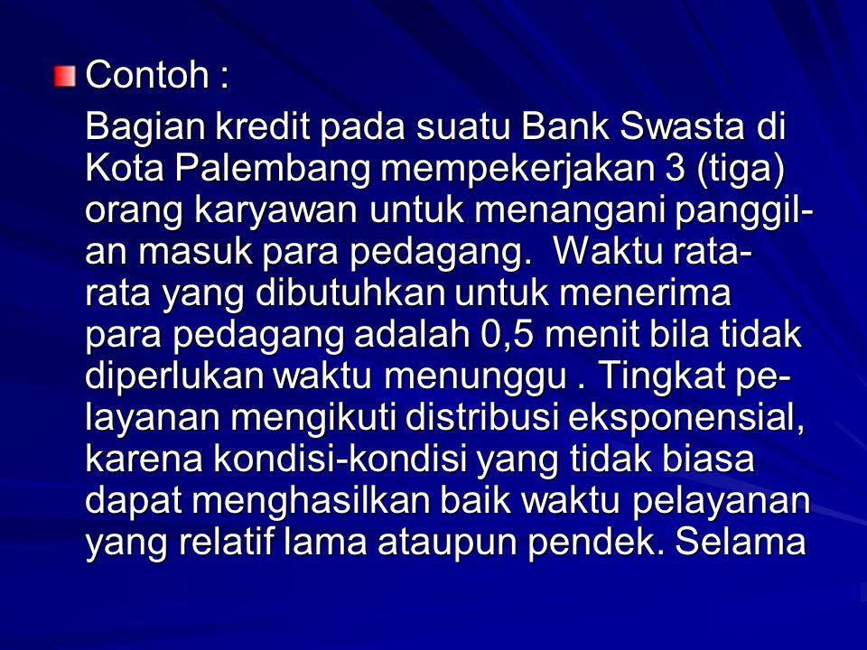 Contoh : Bagian kredit pada suatu Bank Swasta di Kota Palembang mempekerjakan 3 (tiga) orang karyawan untuk menangani panggil- an masuk para pedagang.