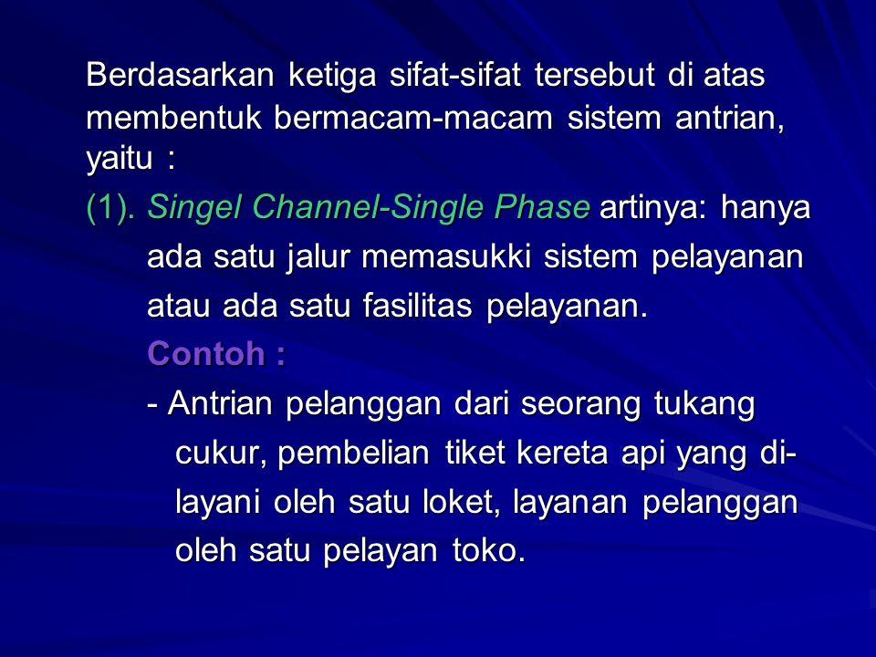 Berdasarkan ketiga sifat-sifat tersebut di atas membentuk bermacam-macam sistem antrian, yaitu : (1). Singel Channel-Single Phase artinya: hanya ada s