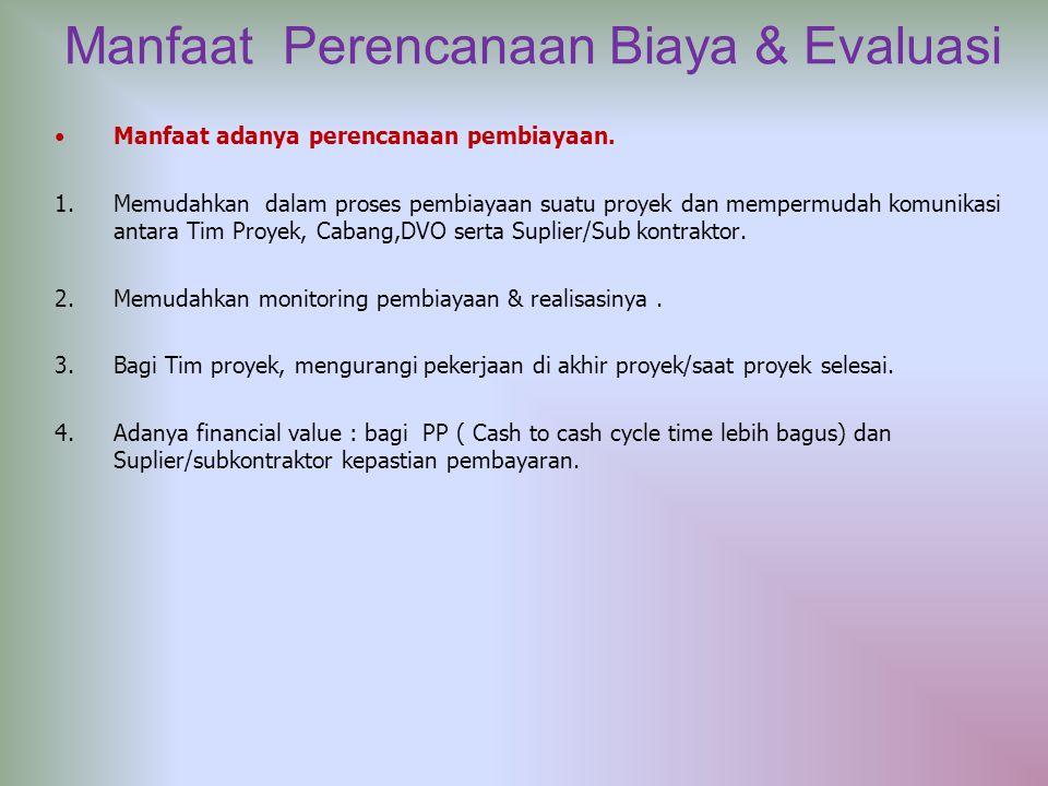 Manfaat Perencanaan Biaya & Evaluasi Manfaat adanya perencanaan pembiayaan. 1.Memudahkan dalam proses pembiayaan suatu proyek dan mempermudah komunika