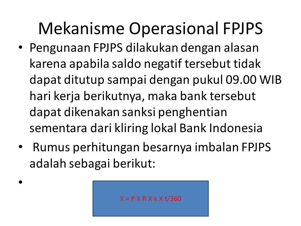 Mekanisme Operasional FPJPS Pengunaan FPJPS dilakukan dengan alasan karena apabila saldo negatif tersebut tidak dapat ditutup sampai dengan pukul 09.0