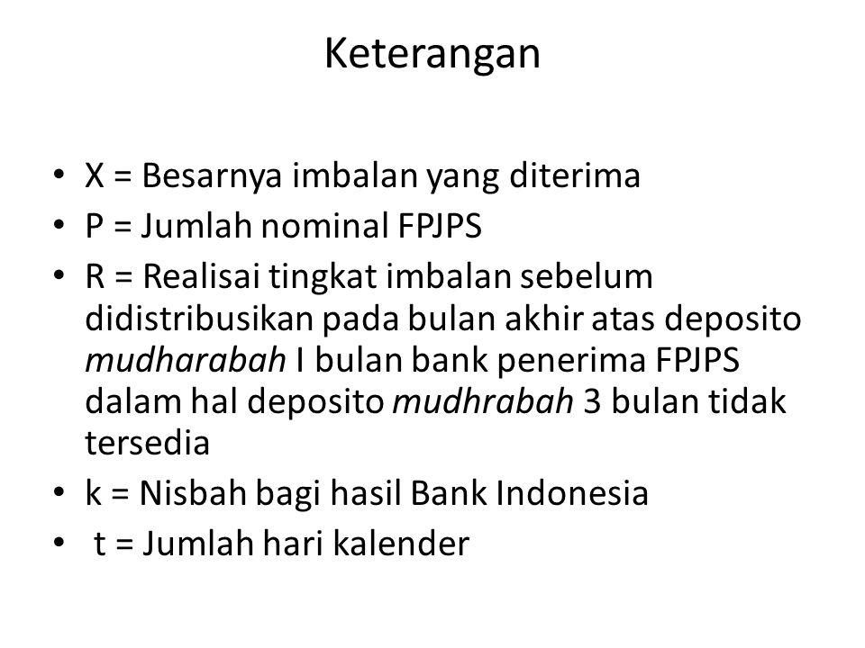 Keterangan X = Besarnya imbalan yang diterima P = Jumlah nominal FPJPS R = Realisai tingkat imbalan sebelum didistribusikan pada bulan akhir atas depo