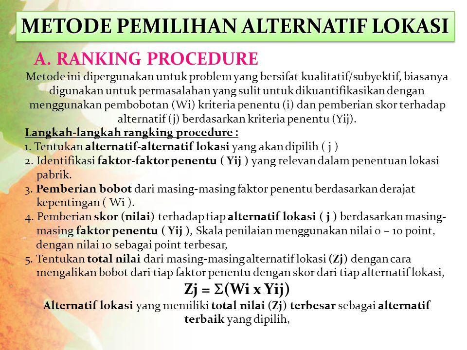 METODE PEMILIHAN ALTERNATIF LOKASI A. RANKING PROCEDURE Metode ini dipergunakan untuk problem yang bersifat kualitatif/subyektif, biasanya digunakan u
