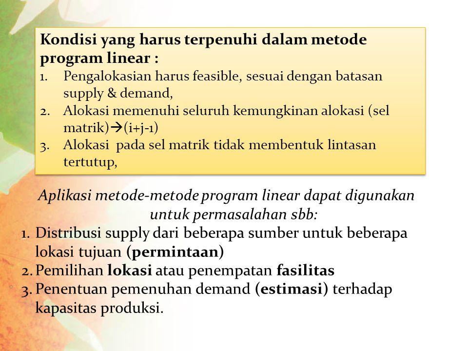 Aplikasi metode-metode program linear dapat digunakan untuk permasalahan sbb: 1.Distribusi supply dari beberapa sumber untuk beberapa lokasi tujuan (p