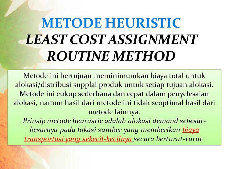 Metode ini bertujuan meminimumkan biaya total untuk alokasi/distribusi supplai produk untuk setiap tujuan alokasi. Metode ini cukup sederhana dan cepa