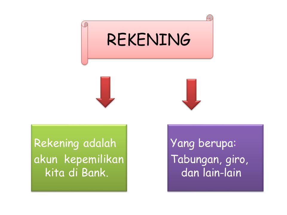 REKENING Rekening adalah akun kepemilikan kita di Bank.