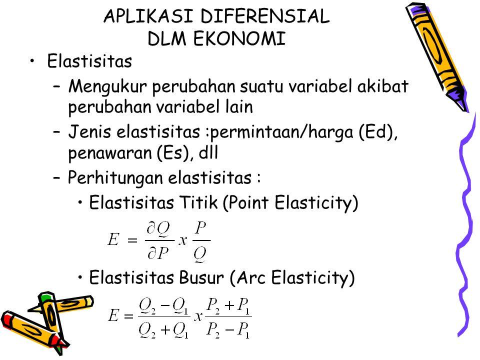APLIKASI DIFERENSIAL DLM EKONOMI Elastisitas –Mengukur perubahan suatu variabel akibat perubahan variabel lain –Jenis elastisitas :permintaan/harga (E