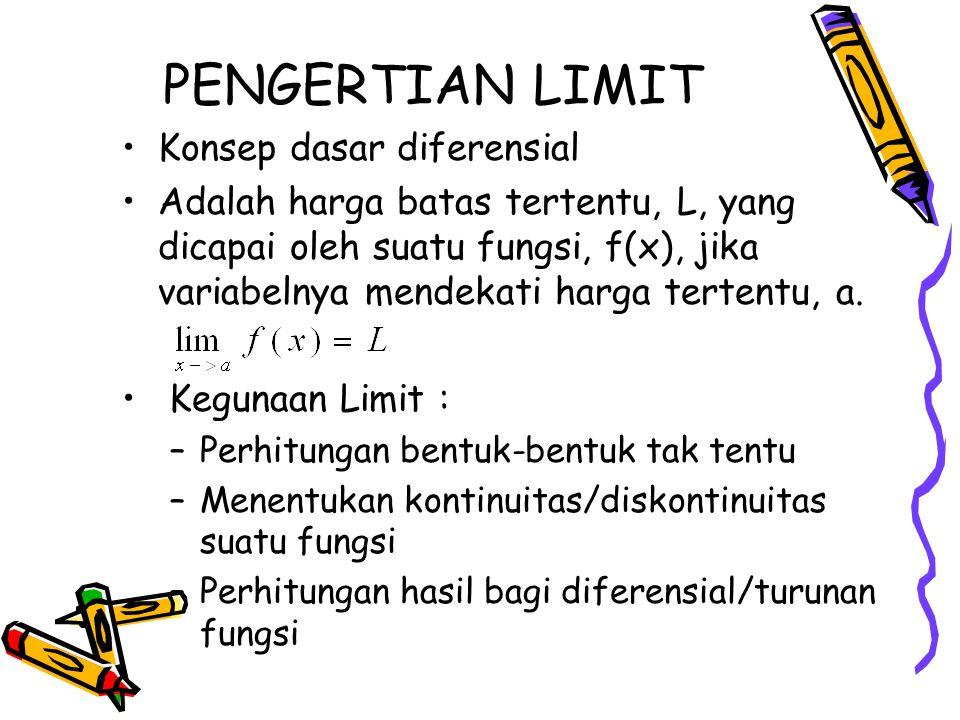 PENGERTIAN LIMIT Konsep dasar diferensial Adalah harga batas tertentu, L, yang dicapai oleh suatu fungsi, f(x), jika variabelnya mendekati harga terte
