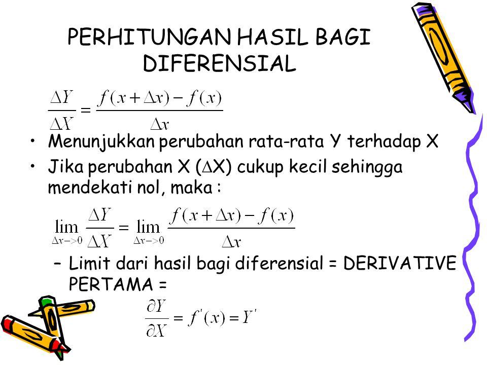 PERHITUNGAN HASIL BAGI DIFERENSIAL Menunjukkan perubahan rata-rata Y terhadap X Jika perubahan X (  X) cukup kecil sehingga mendekati nol, maka : –Li