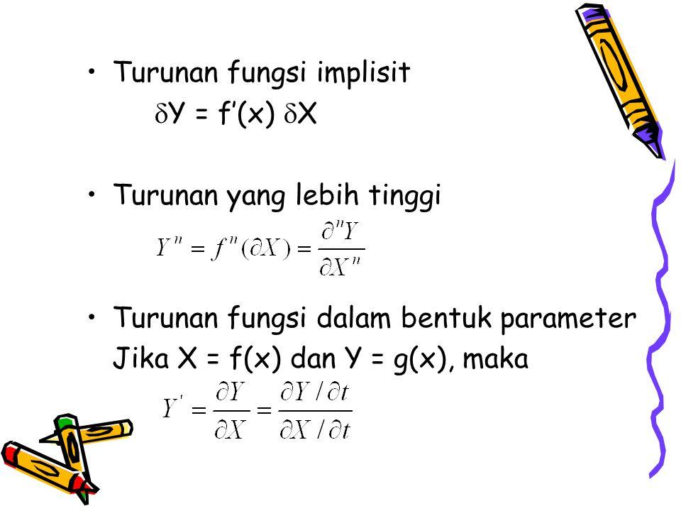 Turunan fungsi implisit  Y = f'(x)  X Turunan yang lebih tinggi Turunan fungsi dalam bentuk parameter Jika X = f(x) dan Y = g(x), maka