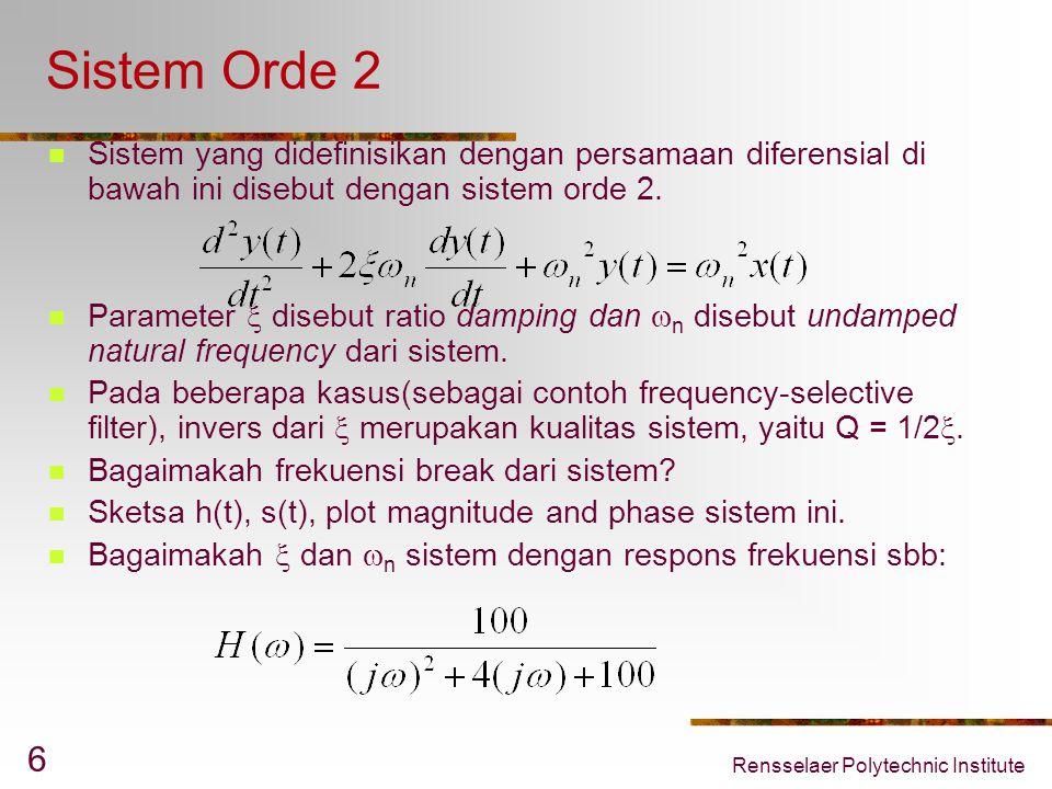 Rensselaer Polytechnic Institute 6 Sistem Orde 2 Sistem yang didefinisikan dengan persamaan diferensial di bawah ini disebut dengan sistem orde 2. Par
