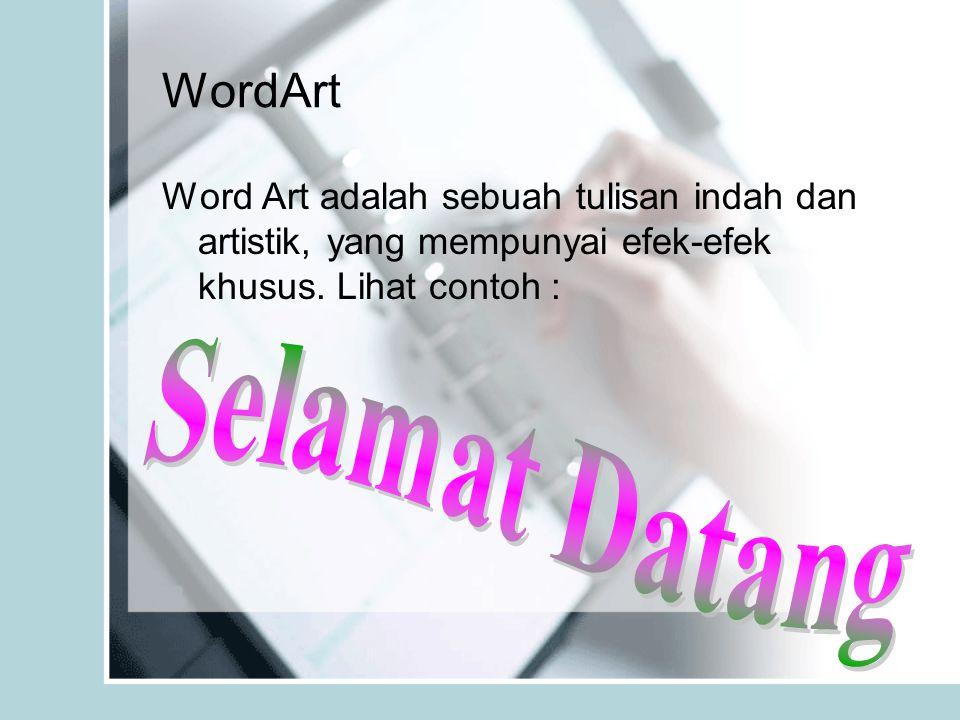 WordArt Word Art adalah sebuah tulisan indah dan artistik, yang mempunyai efek-efek khusus. Lihat contoh :