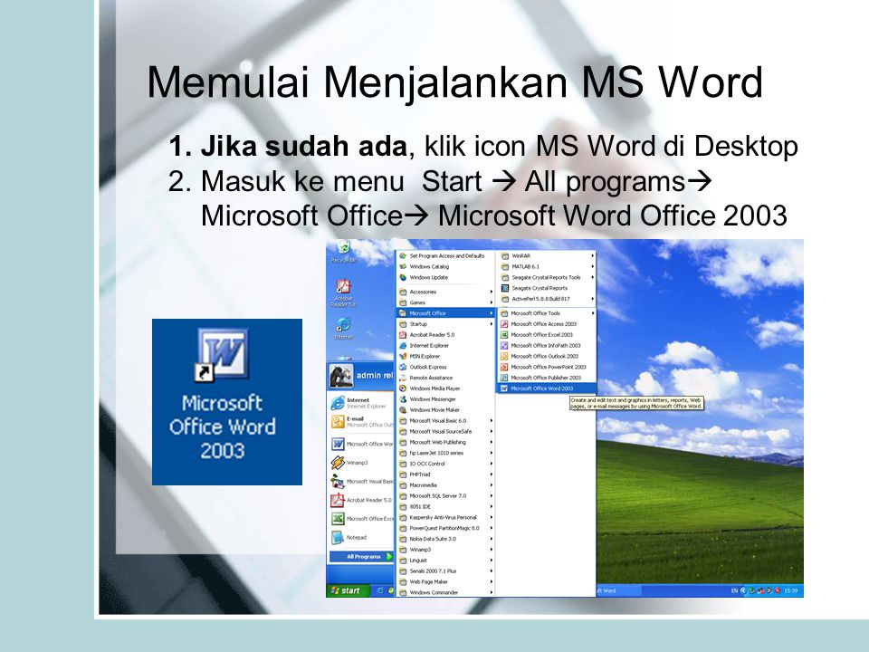 Memulai Menjalankan MS Word 1.Jika sudah ada, klik icon MS Word di Desktop 2.Masuk ke menu Start  All programs  Microsoft Office  Microsoft Word Of