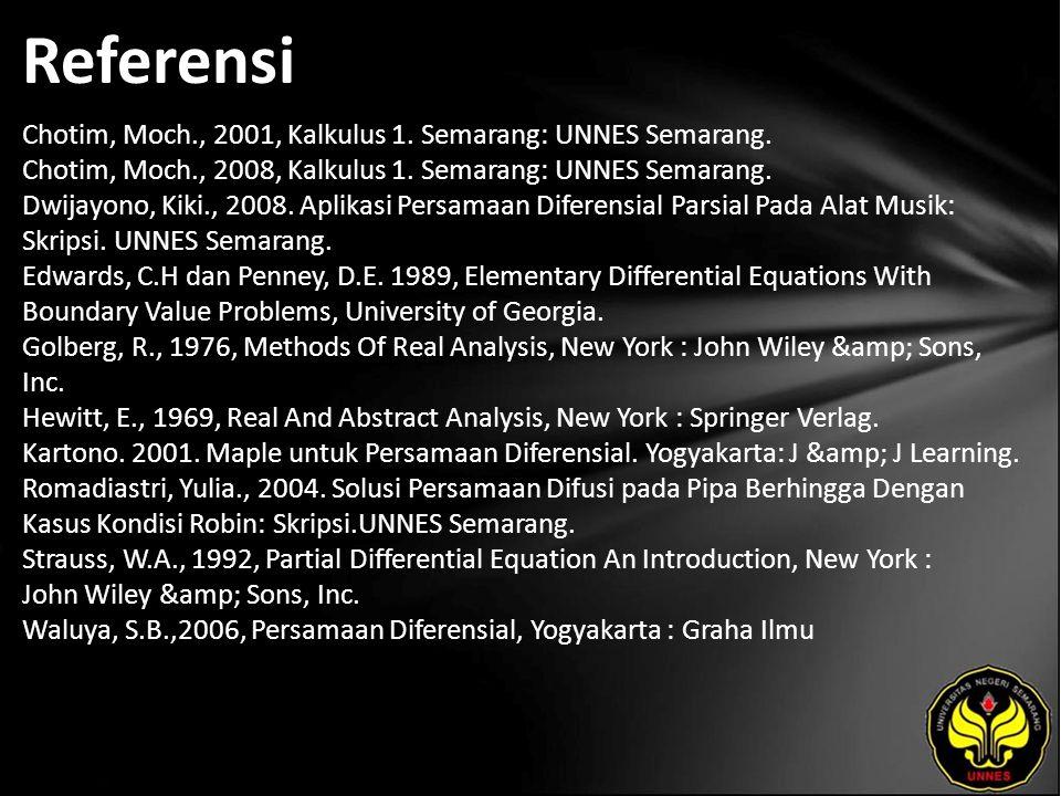 Referensi Chotim, Moch., 2001, Kalkulus 1. Semarang: UNNES Semarang. Chotim, Moch., 2008, Kalkulus 1. Semarang: UNNES Semarang. Dwijayono, Kiki., 2008