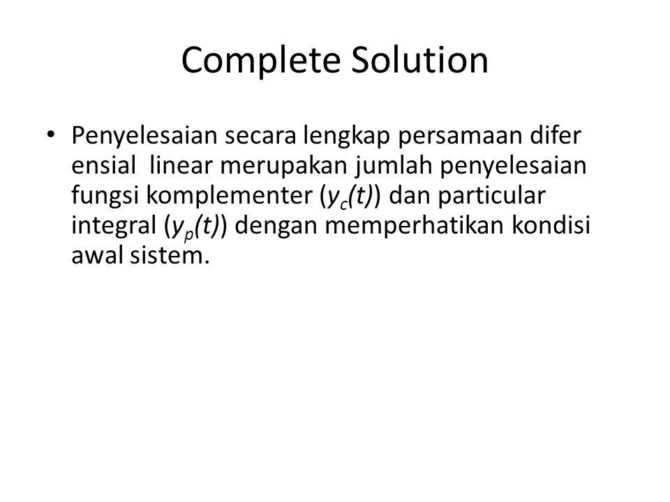 Complete Solution Penyelesaian secara lengkap persamaan difer ensial linear merupakan jumlah penyelesaian fungsi komplementer (y c (t)) dan particular