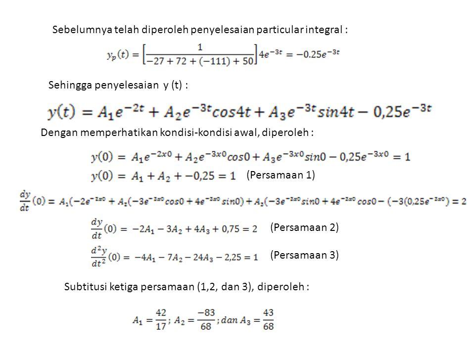 Sehingga penyelesaian y (t) : Sebelumnya telah diperoleh penyelesaian particular integral : Dengan memperhatikan kondisi-kondisi awal, diperoleh : (Pe