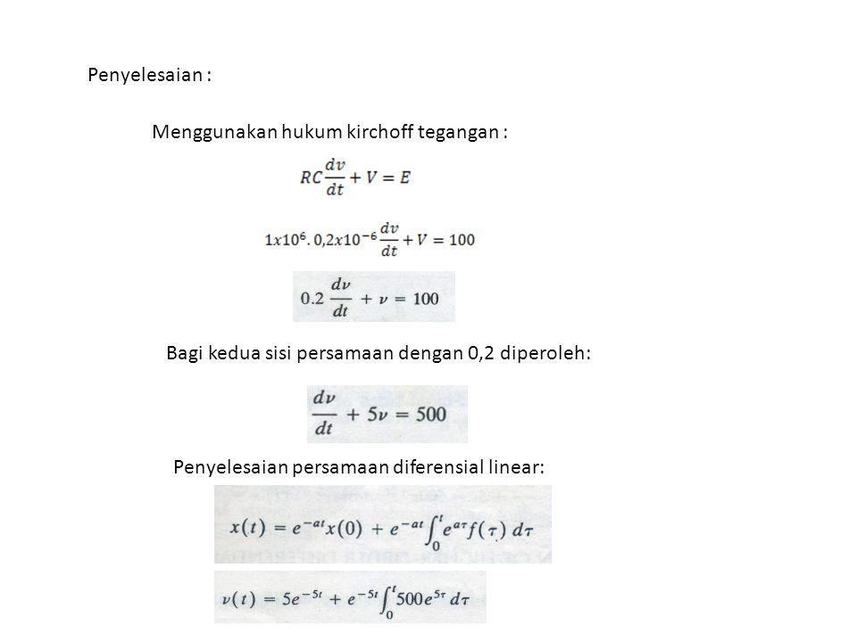 Sehingga penyelesaian y (t) : Sebelumnya telah diperoleh penyelesaian particular integral : Dengan memperhatikan kondisi-kondisi awal, diperoleh : (Persamaan 1) (Persamaan 2) (Persamaan 3) Subtitusi ketiga persamaan (1,2, dan 3), diperoleh :